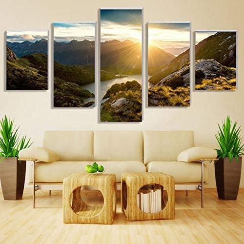 写真リビングルームプリント絵画5ピースピース山と川の風景家の装飾ポスター現代40x60cmx2 40x80cmx2 40x100cmx1フレームなし