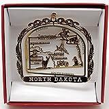 North Dakota State Brass Ornament Souvenir Gift