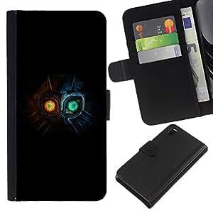 Cute Monster - la tarjeta de Crédito Slots PU Funda de cuero Monedero caso cubierta de piel Sony Xperia Z3 D6603