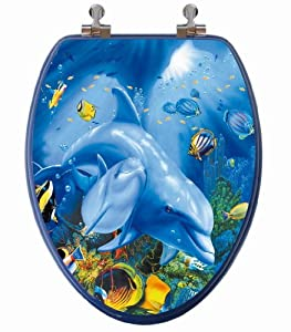 TOPSEAT 3D Ocean Series Elongated Toilet Seat w/ Chromed Metal Hinges, Wood, Dolphin Family 60%OFF