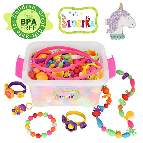 Pop Snap Beads Set for Kids with Storage Box ( 520 PCS) - Creative DIY Dress Up Jewelry Toys for Making Necklace,Bracelet and Ring - Ideal Christmas Birthday Gifts for 4,5,6,7,8 Years Old Girls (A)