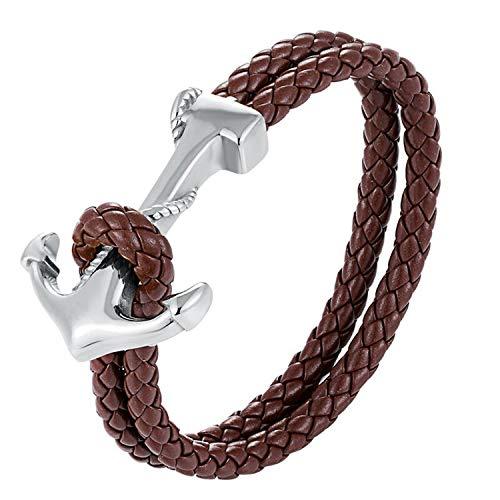 2019 Fashion Bracelets for Men Titanium Steel Anchor Bangle Leather Woven Charm Rope Chain Couple Bracelet,20cm