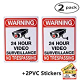 DateDirect 2-Pack Video Surveillance Sign,No Trespassing Metal Warning Aluminum Security Signs with 2