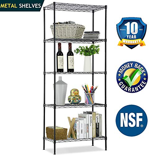 Wire Shelving Unit, NSF 5-Tier Height Adjustable Utility Steel Commercial Grade Storage Shelves 24