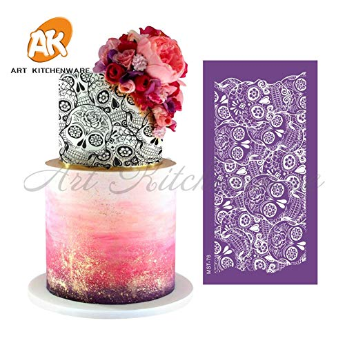 Skulls Mesh Stencil Lace Halloween Cake Stencil DIY Cake Decorating Tools Fabric Cake Stencils for Cake Mold Fondant -