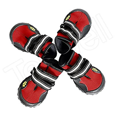 Tenwell Dog Boots Pet Shoes Anti-Slip Sole Reflective Velcro Pet Boots Paw Protector Varies Size Small Medium Large Dogs