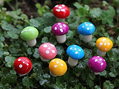 Ginsco 18pcs Miniature Fairy Garden Mushrooms Colorful