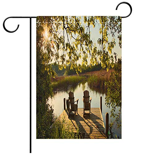 BEICICI Custom Personalized Garden Flag Outdoor Flag Tranquil Lake Scene with Two Adirondack Chairs Decorative Deck, Patio, Porch, Balcony Backyard, Garden or Lawn ()