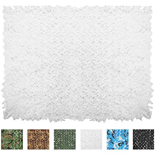 IUNIO Camouflage Netting Camo Net Blinds for Sunshade Camping Shooting Hunting Decoration (White, 6.5ftx5ft 2mx1.5m)