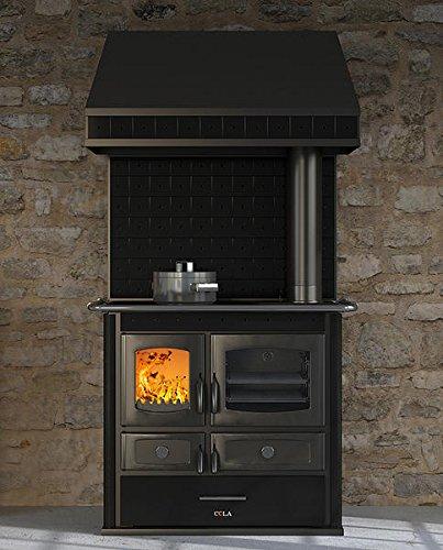 Termo stufa cucina economica a legna - colore nero con cappa ...
