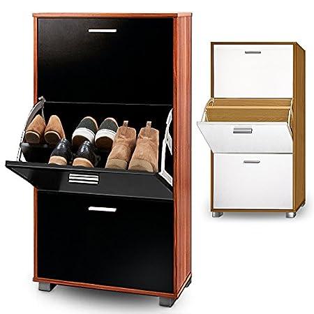 black storage cabinet. Shoe Storage Cabinet Cupboard Rack Oak Black Or White Wooden Organiser 56x35centimeter 3 Door Pull Down T