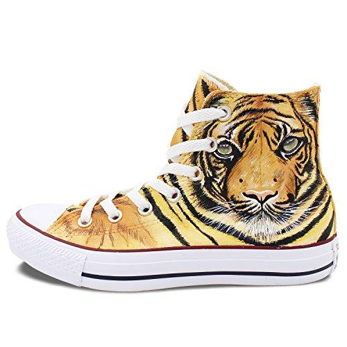 Wen Handgeschilderde Schoenen Tijger Koning Van De Jungle Ontwerp Hoge Top Canvas Sneakers