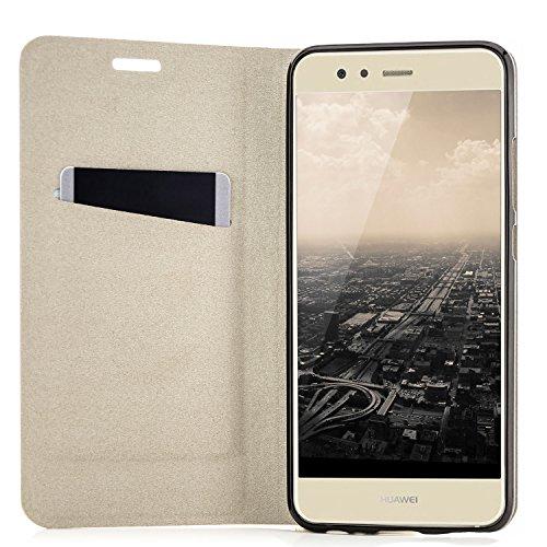 Funda Huawei P10 Lite (WAS-LX1A) Case Cubierta Carcasa Flip Cover Tapa Delantera con Billetera para Tarjetas, Cierre Abatible - Protectora de Alta Calidad | Negro Negro