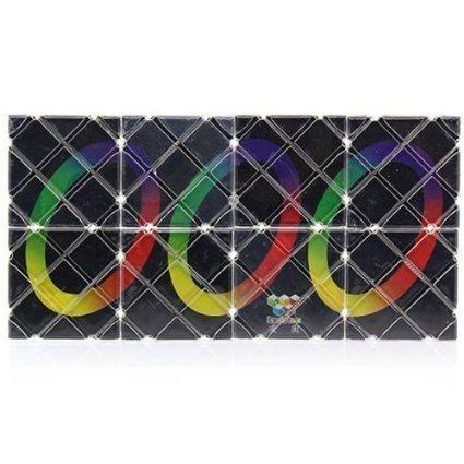 LingAo Mini 8 Panels 3 Rings Black Magic Folding Puzzle Cube (Magic Rubiks Cube)