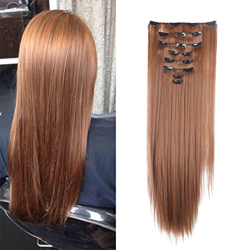 FRISTLIKE 26 Inches Full Head Clip in Extensions 8 Piece 18 Clips Long Soft Silky Straight and Curly for Women Fashion(Light Auburn)