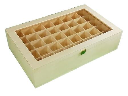 Greca Caja Colecciones. con Doble Piso. En Madera de chopo. Interior con departamentos para Colecciones (2 bandejas). En Crudo. Medidas: 45 * 28 * 11 ...