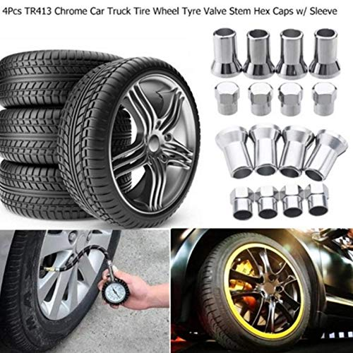 ghfcffdghrdshdfh 4pcs//Set TR413 Tire Valve STEM Hex Air Caps Airtight with Sleeve Covers