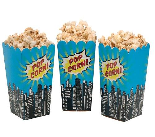 (William & Douglas Ginger Ray Superhero Pop Art Popcorn Treat Boxes Party Supplies Decoration for Superhero Theme Children's Birthday Celebration, Movie Nights (16 Pack))