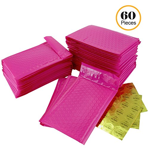 #000 4x8 Inch Pack of 60 Hot Pink Poly Bubble Mailers and 60 Thank You Stickers. Padded Shipping Envelopes Bags for Packing Goods with Self Adhesive Strip and Made Water (Packaging Supplies)