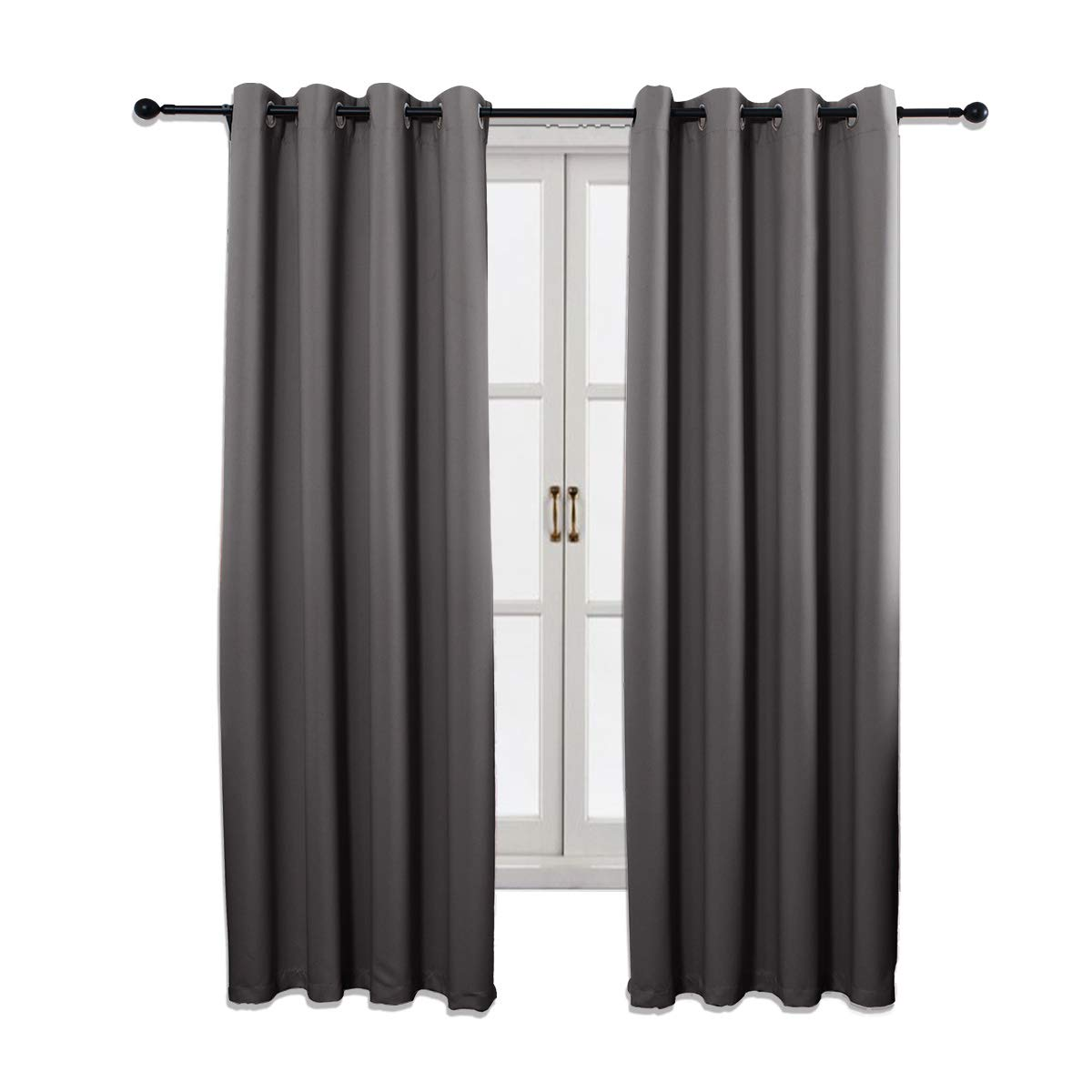 52 x 84 Inch SINOGEM Room Darkening Thermal Insulated Grommet Top Blackout Curtains for Living Room Set of 2 Panels Beige