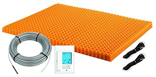 Schluter-Systems DITRA-HEAT (120V) Floor Heat Kit 60.3 sq ft of membrane + 37.5 sq ft cable adaptable to any layout, adds comfort to tile/stone includes, programmable touch thermostat, 2 floor sensors