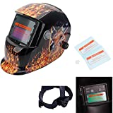 OxiQmart Pro Solar Power Auto Darkening Welding Helmet with Shade 9-13 with Extra lens