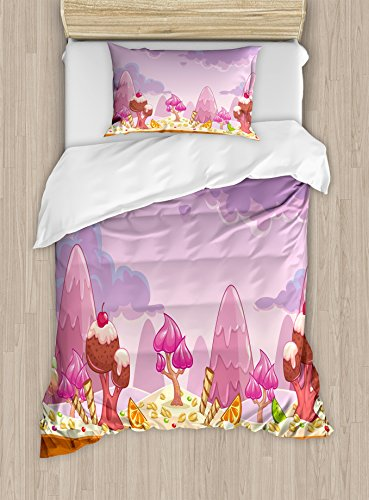 Ambesonne Girls Duvet Cover Set Twin Size, Cartoon Sweet Candy Land Cupcakes Ice Cream Chocolate Oranges Mountains Artwork Print, Decorative 2 Piece Bedding Set with 1 Pillow Sham, Multicolor