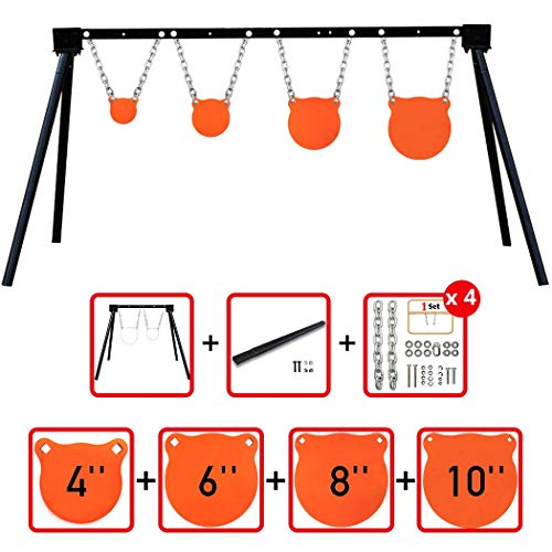 (Highwild AR500 Steel Shooting Target System (1 Stand, 4 Chain Sets & 4