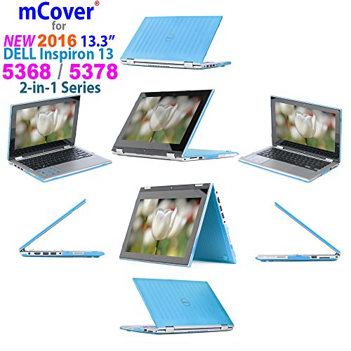 iPearl mCover Hard Shell Case for 2016 13.3 Dell Inspiron 13 5368/5378 2-in-1 Convertible (NOT Compatible with Other Dell Inspiron 5000 Series Models) Laptop (Aqua)