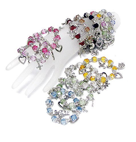 Star Charms Acrylic (Linpeng Heart Cross Angel Moon Star Charms Hang on 12 Color Faceted Acrylic Beads Stretch Bracelet in Free Gift Bag (Pack))