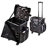 AMPERSAND SHOPS Spacious Multi-Compartment Black Rolling Makeup Bag / Cosmetic Travel Case