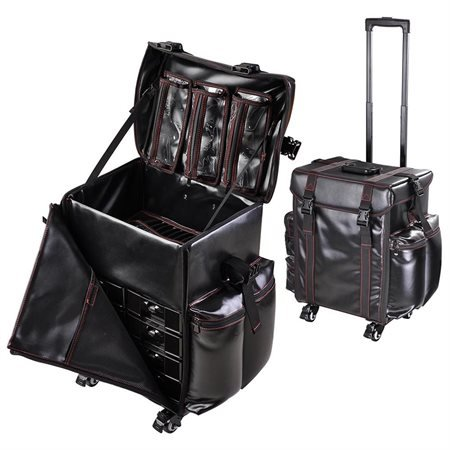 AMPERSAND SHOPS Spacious Multi-Compartment Black Rolling Makeup Bag / Cosmetic Travel Case by AMPERSAND SHOPS