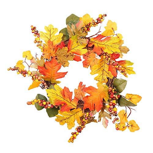 - Lovewe Thanksgiving Day Garland Hanging,Autumn Maple Leaf Berry Artificial Garland Front Door Wreath Xmas Home Decor