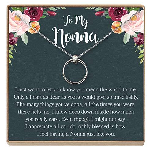 Dear Ava Nonna Gift Necklace: Nonna Present, Nonna Jewelry, Italian Grandma, 2 Linked Circles (Silver-Plated-Brass, NA) (Grandma Presents For Best)