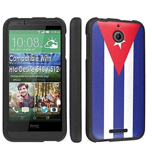 Htc Desire 510 / 512 Case, [SkinGuardz] Black Form Fit Fancy Protection Case - [Cuban Flag] Print Design