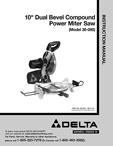 l Bevel Compound Power Miter Saw Instruction Manual Reprint ()