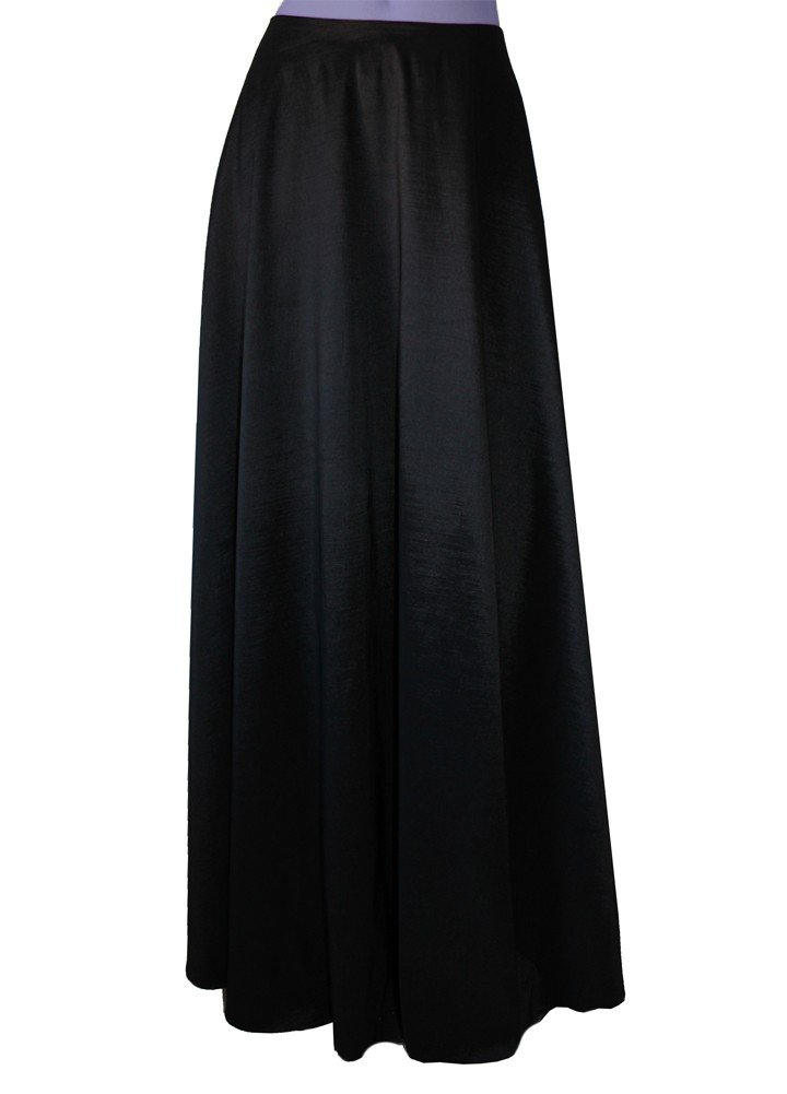 E K Women's plus size long taffeta skirt Maxi evening formal cocktail party-0X- Black Und by E K