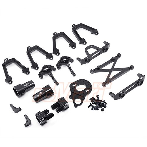 Yeah Racing Aluminum Essential Conversion Kit For Axial SCX10 Black - Aluminum Rear Hub Adjustable Carrier