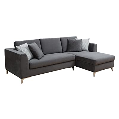 sectional sofa with chaise. Sunpan Modern Virgilio Sofa Chaise With Fossil Grey Fabric Sectional