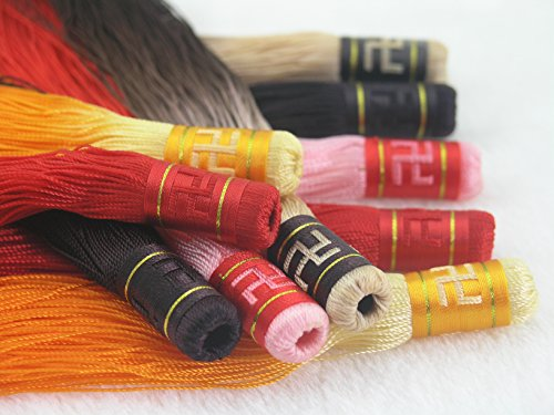 5 Colors--5pcs Long(7.1'') Soft Silk Tassels Charms with the Symbol of Buddaha Swastika, Golden Ruffle, Super Qulity