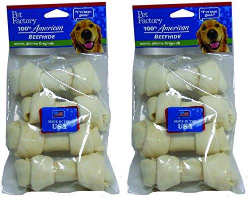 (2 Pack) PET FACTORY 949023 USA 4-5-Inch Bone Rawhide Chews for Dogs (4 Bones Per Pack / 8 Total)