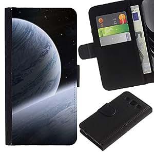 KLONGSHOP / Tirón de la caja Cartera de cuero con ranuras para tarjetas - Blue Planets Art Cosmos Space Stars Universe - Samsung Galaxy S3 III I9300