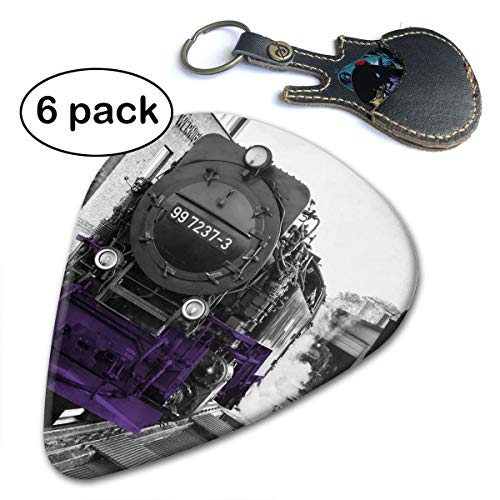 New York Europe Buildings Purple Train Celluloid 6 Pack Guitar Picks for Your Electric Acoustic Bass Guitar and Gifted in A Unique Pick Bag