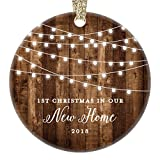 New Home 2018 Ornament Housewarming 1st Christmas In Our New House Rustic Farmhouse Ceramic Collectible Homeowner Present Real Estate Agent 3'' Flat Circle Porcelain Gold Ribbon Free Gift Box OR00538