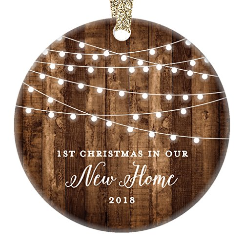 "New Home 2018 Ornament Housewarming 1st Christmas In Our New House Rustic Farmhouse Ceramic Collectible Homeowner Present Real Estate Agent 3"" Flat Circle Porcelain Gold Ribbon Free Gift Box OR00538"