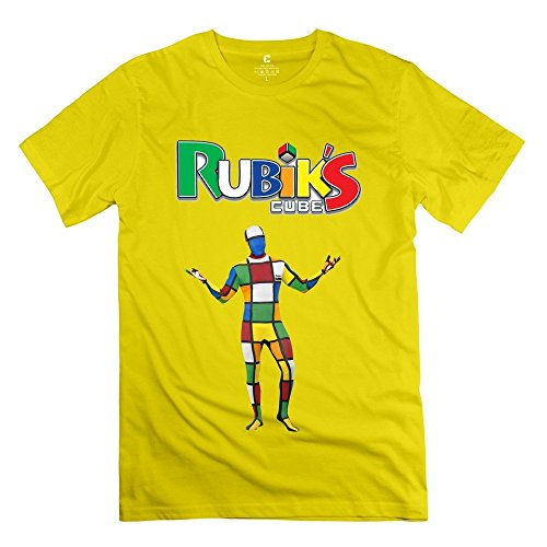 Geek Melting 3-D Rubiks Cube Mirror Men's Tee Yellow Size XXL