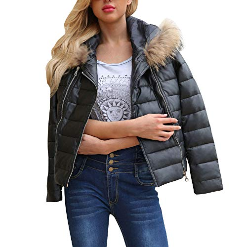 Womens Coats Liraly Fashion Winter Classic Warm Zipper Leather Jacket Parka Outwear Overcoat Coat(Black,US-8 /CN-L) by Liraly