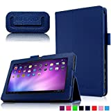 Infiland Folio Case for Alldaymall A88X 7'' Tablet, PU Leather Slim Stand Case Cover for Alldaymall A88X / Alldaymall A88S / Alldaymall A88 7-inch Quad Core Google Android 4.4 KitKat Tablet, Navy