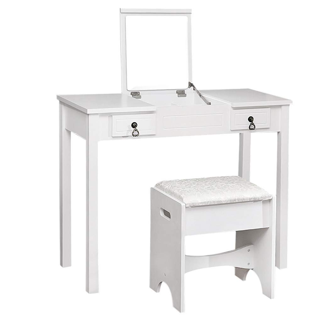 Vanity Table Set with Flip Top Mirror - Dressing Table with 2 Storage Drawers, Cushioned Stool - Furniture Make-Up Vanity Table Stool Set (White)