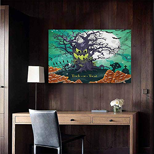 duommhome Halloween Art Oil Paintings Trick or Treat Dead Forest with Spooky Tree Graves Big Kids Cartoon Art Print Canvas Prints for Home Decorations 47